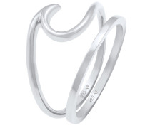 Ring 2er Set Wave Welle Bandring Basic 925 Silber