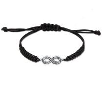 Armband Textilband Infinity Symbol Oxidiert 925 Silber