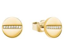 Ohrstecker für rund aus Edelstahl mit IP Gold und Zirkoniasteinen Weiß