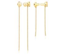 Ohrringe 2er Set Ohrhänger Ear Chains Venezianer 925 Silber
