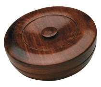 Sandalwood Herbal Shaving Hard-Soap in Wooden Bowl