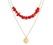 Halskette Layer Plättchen Koralle Trend 925 Sterling Silber