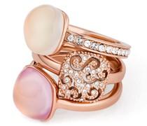 Ring Messing Glaskristalle roségold Modeschmuckring