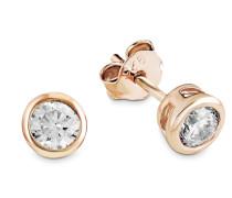 Ohrstecker für, 925er Sterling Silber rosévergoldet Weiß