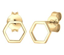 Ohrringe Hexagon Geo Trend Minimal Filigran 925 Silber