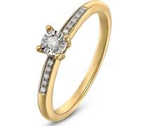 By -Damenring 375er Gelbgold 11 Diamant 56 32004438