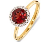 -Damenring 585er Gelbgold, Gelbgold teilrhodiniert 1 Granat 60 32000052