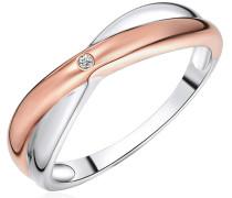 Ring Sterling Silber rosevergoldet / rhodiniert Diamant