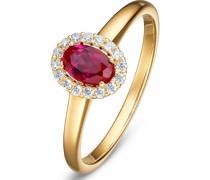 -Damenring 585er Gelbgold 1 Rubin 54 32010385