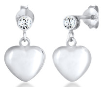 Ohrringe Hänger Herz Swarovski® Kristalle 925 Silber