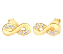 Ohrringe Infinity Diamant 0.06 ct. Liebe 585 Gelbgold