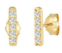 Ohrringe Stecker Stab Geo Diamant (0.15 ct.) 375 Gelbgold