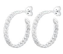 Ohrringe Creole Geflochten Braided Trend Blogger in 925 Sterling Silber