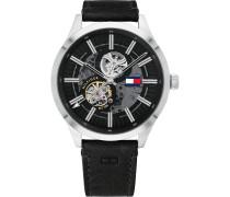 -Uhren Analog Automatik Schwarz Schwarz Leder 32011948