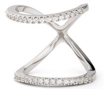 Ring Messing Glaskristalle silber Modeschmuckring