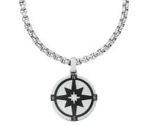 Kette mit Anhänger für, Edelstahl, Kompass
