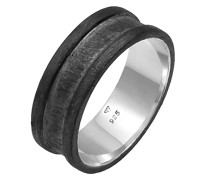 Ring Bandring Breit Oxidiert Casual 925 Silber