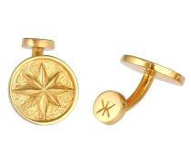 Manschettenknopf Kompass Windrose Symbol Maritim Massiv 925 Silber