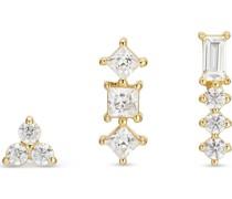 -Ohrstecker 925er Silber 1 Zirkonia Gold 32013619