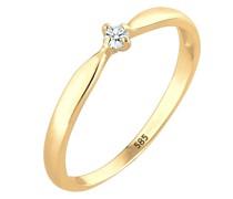 Ring Verlobung Welle Diamant (0.03 ct.) 585 Gelbgold