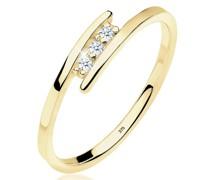 Ring Verlobungsring Trio Diamant 0.045 ct. 375 Gelbgold