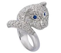 Ring Raubkatze Messing verziert mit Kristallen von Swarovski®