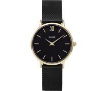 -Uhren Analog Quarz Schwarz/Gold 32011682
