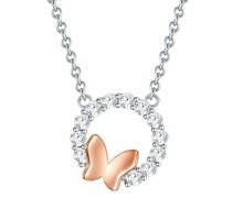 Kette Schmetterling Sterling Silber Zirkonia silber/roségold