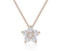 Halskette Blume Sterling Silber Zirkonia roségold