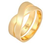 Ring Bandring Überkreuz Look 925 Silber
