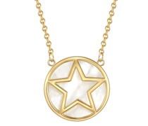 Halskette Stern Sterling Silber Perlmutt gelbgold