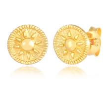 Ohrringe Stecker Coin Rund Sonne Antik 925er Silber