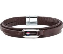 -Armband Edelstahl, Leder Schwarz 32000627 Armbänder & Armreifen