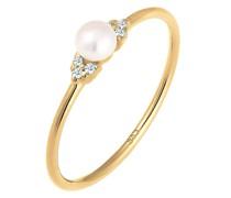 Ring Verlobung Perle Diamant (0.03 ct.) 585 Gelbgold