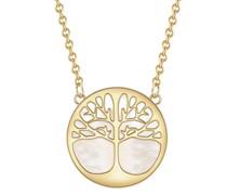 Halskette Baum des Lebens Sterling Silber Perlmutt gelbgold