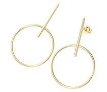 Ohrstecker Stäbchen mit Ring Gelbgold 375