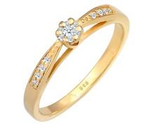 Ring Verlobung Diamant (0.085 ct.) Blume 585 Gelbgold