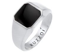 Ring Siegelring Emaille Schwarz Basic 925 Silber