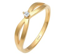 Ring Verlobung Vintage Diamant (0.03 ct.) 585 Gelbgold