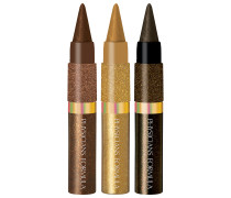 Gold Eyes Shimmer Strips Custom Eye Enhancing Extreme Kohl Kajal + Liquid Liner Trio Make-up Set