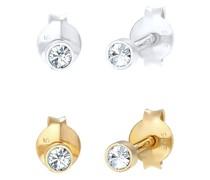 Ohrringe 2er Set Basic Swarovski® Kristalle 925 Silber