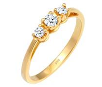 Ring Verlobungsring Trio Diamant 0.23 ct. 585 Gelbgold