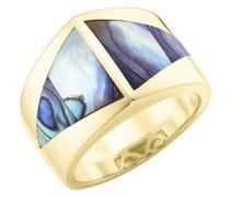 Ring mit Abalone Einlage in dreieckiger Form, Silber 925 Ringe