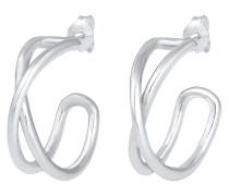 Ohrringe Creolen Hänger Kreuz Knoten Geo Basic 925 Silber