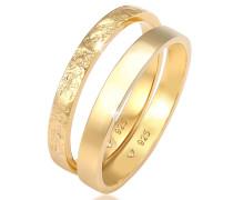 Ring 2er Set Bandring Basic Organic-Look 925 Silber