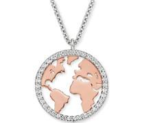 -Kette Kette Welt 925er Silber Zirkonia One Size 87928152
