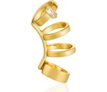 -Einzelner Ohrschmuck Glow Crawler Ear Cuff 925er Silber Zirkonia Gold 32014132