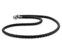 Halskette Echtleder Kette Geflochten Basic 925 Silber