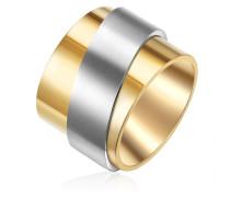 Ring Edelstahl gelbgold/silber