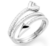 Ring stylisch in Pfeiloptik geschwungen, Zirkonia Steine, Silber 925
